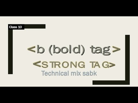 15  B Tag Or Bold Tag//strong Tag In Html In Hindi
