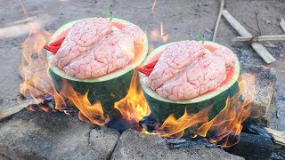 Primitive Technology: Cooking Pig Brain in Watermelon For Dinner | Wilderness Food