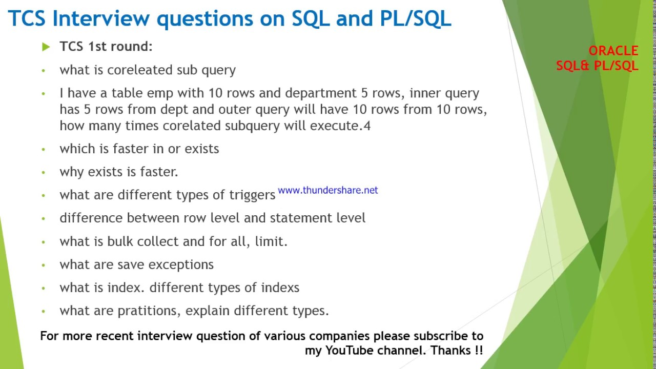 Tcs Interview Questions And Answers On Oracle Sql Pl
