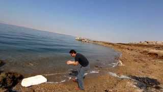 Dave tasting the dead sea water