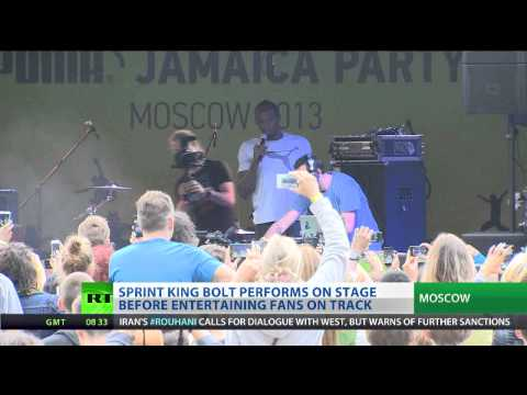 Sprint King Bolt sings and dances in Moscow