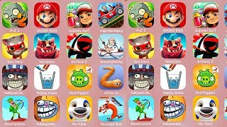 PvZ2,Mario Run,Subway Surf,AngryGranRacing,Tom Hero,Monsters,ArcheryZ,AmazingFishing,TrollQuestUSA