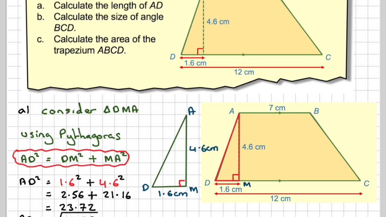 Trigonometry And The Area Of A Trapezium Youtube