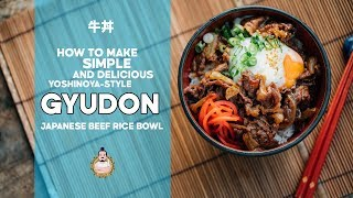 Yoshinoya-style Gyudon | 牛丼 | Japanese Beef Rice Bowl | 5-Minute Recipe