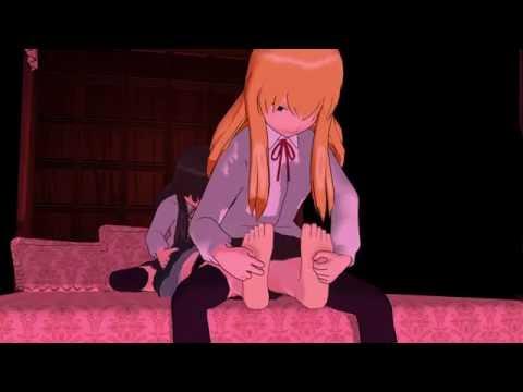 【くすぐりMMD】女子校生2対1のくすぐり戯れ【F/F tickling】
