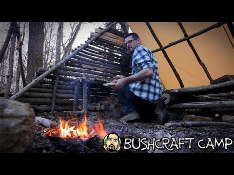 Making a Bushcraft Camp: Camp Table, Fire Wood Storage, Camp Tour (Part 8)