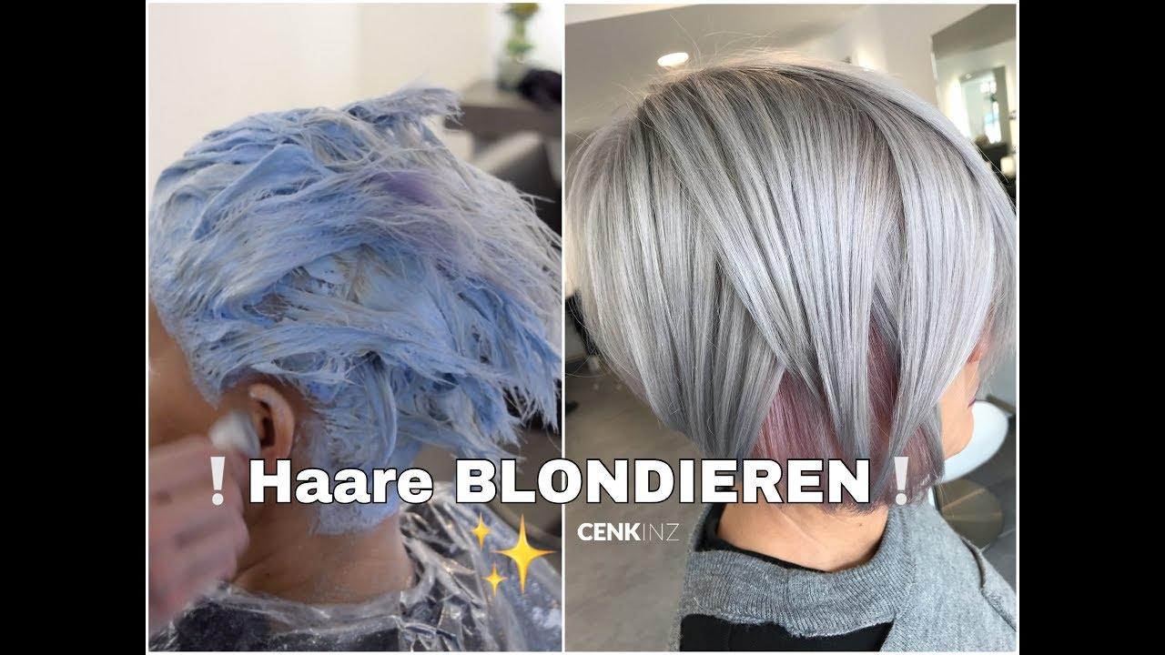 Grau färben blondieren nach Gelbstich im