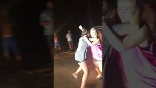 White Girls fighting on dirt road