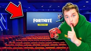Sneaking FORTNITE Into A MOVIE Theater CHALLENGE! We WON Candy, Xbox One & More!