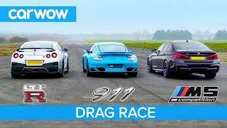 Nissan GT-R vs Porsche 911 Turbo vs BMW M5 Comp - £100K DRAG RACE, ROLLING RACE & BRAKE TEST thumbnail