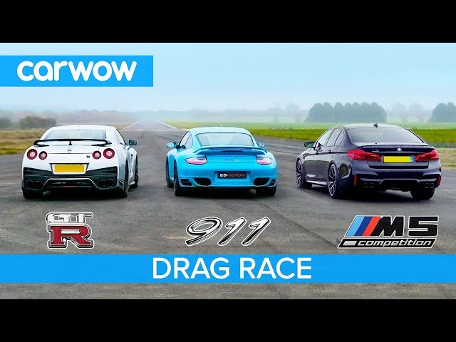 Nissan GT-R vs Porsche 911 Turbo vs BMW M5 Comp - £100K DRAG RACE, ROLLING RACE & BRAKE TEST