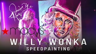 Willy Wonka Speedpainting by Jessica Haas -Opens for Macys Fashion Show Event with a Live Painting