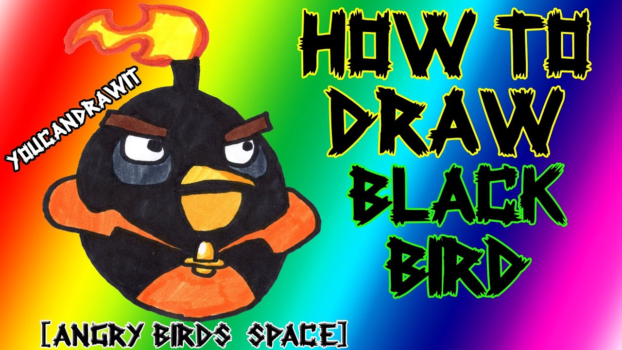 How to draw space black bird from angry birds space - Angry birds space gratuit ...