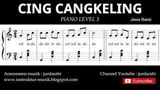 notasi balok cing cangkeling - piano grade 3 - lagu daerah jawa barat - instrumental