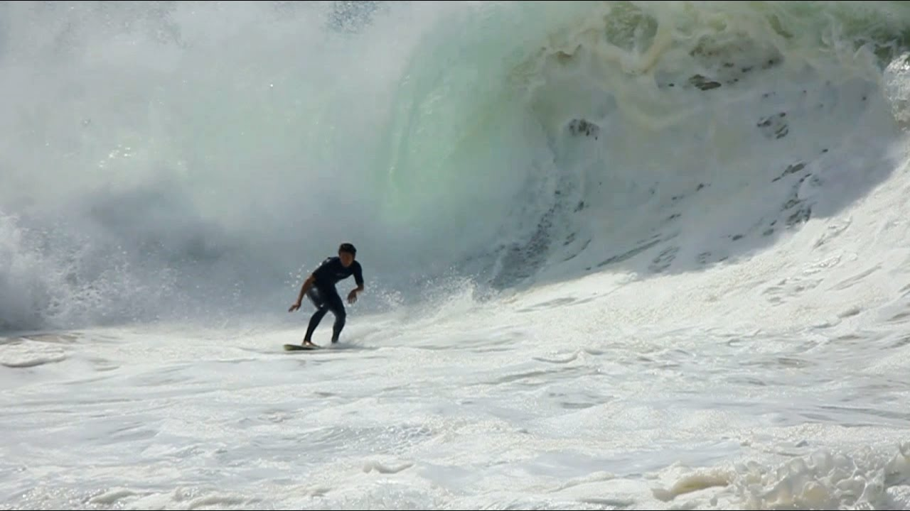 Skimboarders riding MASSIVE SHOREBREAK!!