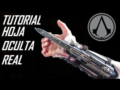 COMO HACER LA HOJA OCULTA REAL DE METAL Y MUY FÁCIL!!!! Hidden Blade de doble accion  (cosplay)