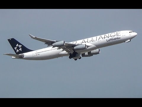 [Star Alliance] Lufthansa Airbus A340-300 takeoff in Frankfurt! (Full HD!)