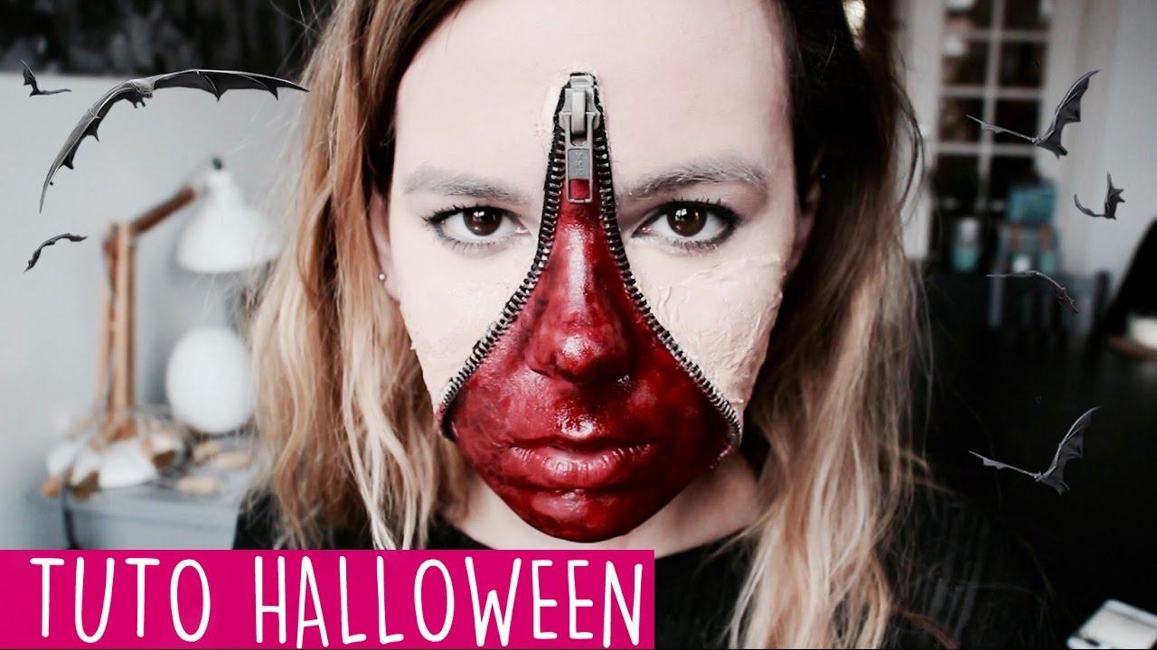 Maquillage Halloween Zipper.Tuto Halloween Un Visage Zippe Youtube