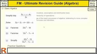 Algebra Basics - Ultimate revision guide for Further maths GCSE