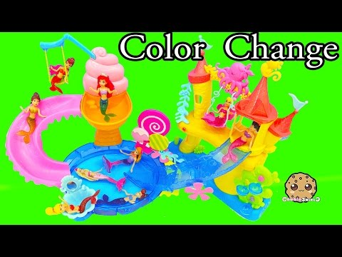 Color Changing Mermaids Disney Little Kingdom Ariel + Sisters Water Play - Cookieswirlc Videos