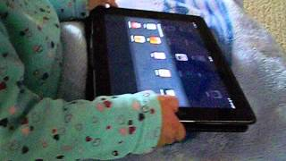 21month old uses iPad while potty training