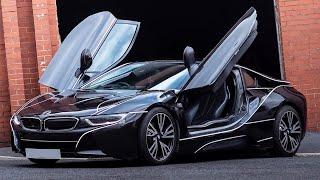 BMW i8 Glitter Black Wrap With Tron Lines
