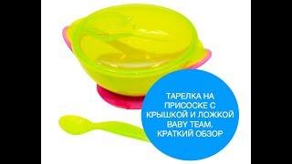 Тарелка Baby Team на присоске с крышкой и ложкой. Краткий обзор