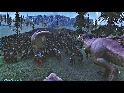 13 Tyrannosaurus Rex vs 10000 Romans Ultimate Epic Battle Simulator