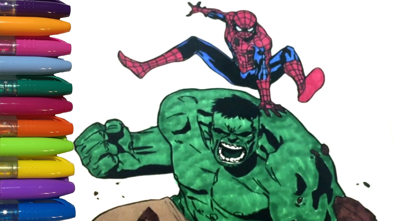 Spiderman Coloring Book with the Incredible Hulk! - YouTube