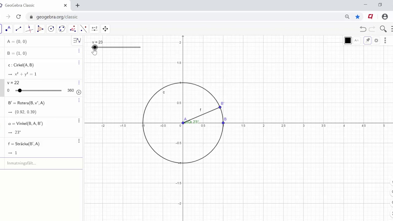 Skapa din egna enhetscirkel i GeoGebra på 10 minuter
