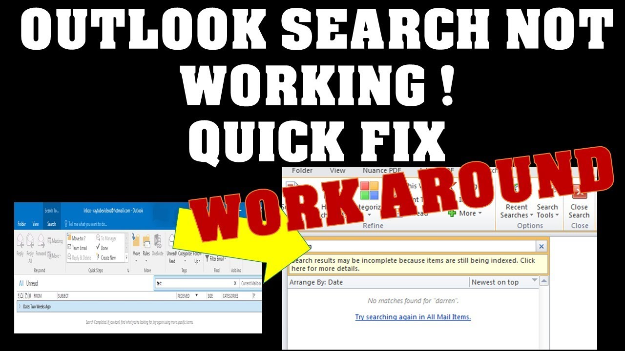 Work Around Outlook Search not working in windows  Please watch previous  video before watching this