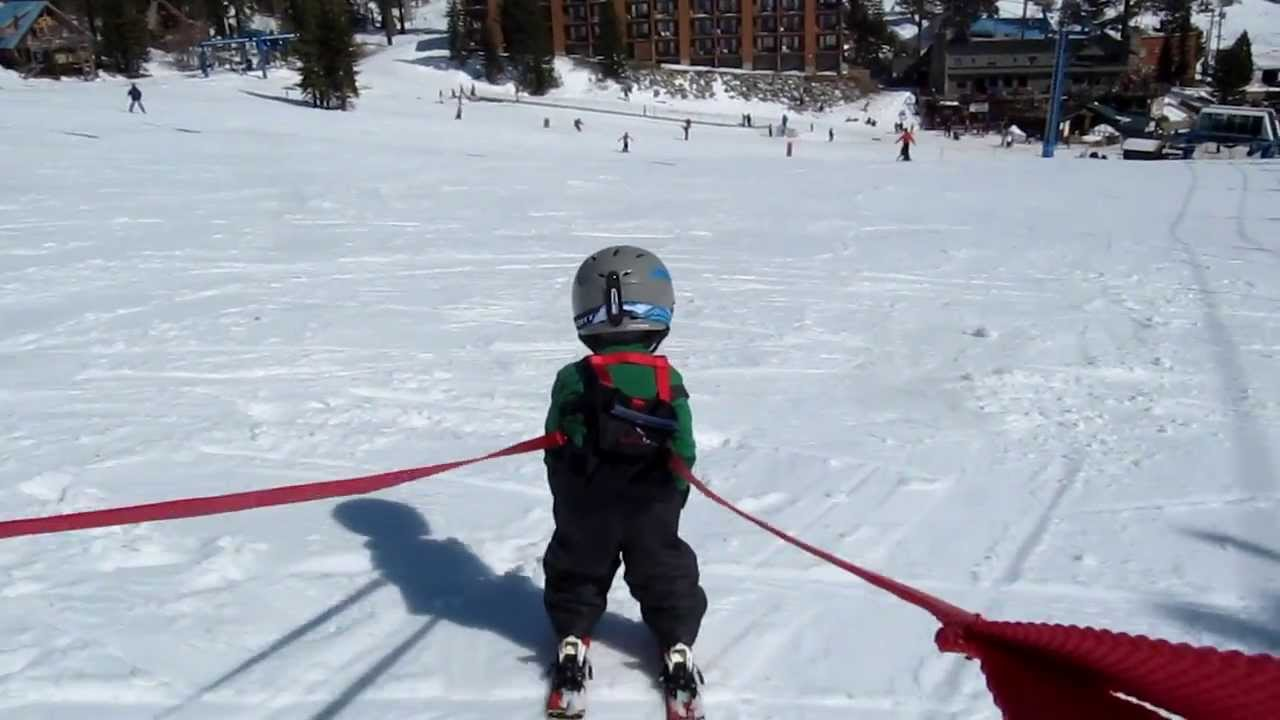 3 Year Old On A Bunny Slope With Daddy Using A Lucky Bums
