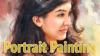 Portrait #48 - Watercolor Painting of a Female Portrait in Profile View
