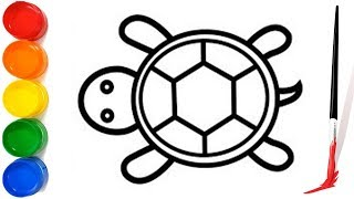 Turtle Drawing Color For Children   How to draw Turtle for kids   Drawing and Coloring for kids