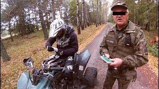 COPS in the forest !!! they wanted to catch us on quads - Ucieczka quadami przed grzybiarzami :)