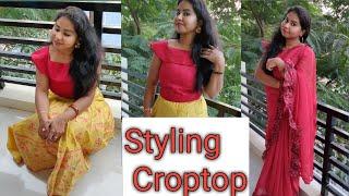 Styling Croptop|One Croptop|2 styles|Saree styling