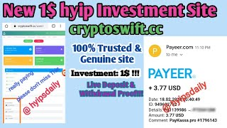 Cryptoswift.cc - 100% Trusted & Genuine 1$ hyip site! 3.90$ Live proof - Hyips daily