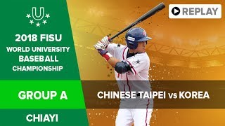 Baseball – Group A – TPE vs KOR   FISU 2018 World University Championship 1