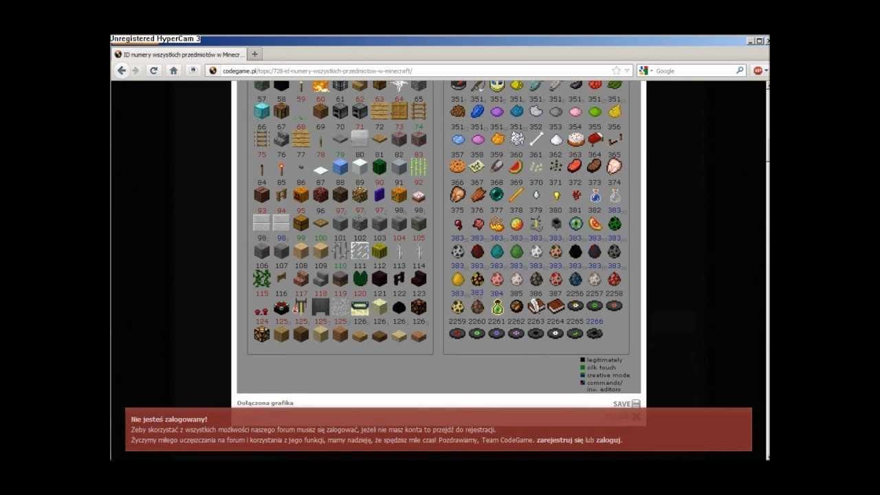Jak Znać Wszystkie Id Przedmiot 243 W W Minecraft Youtube