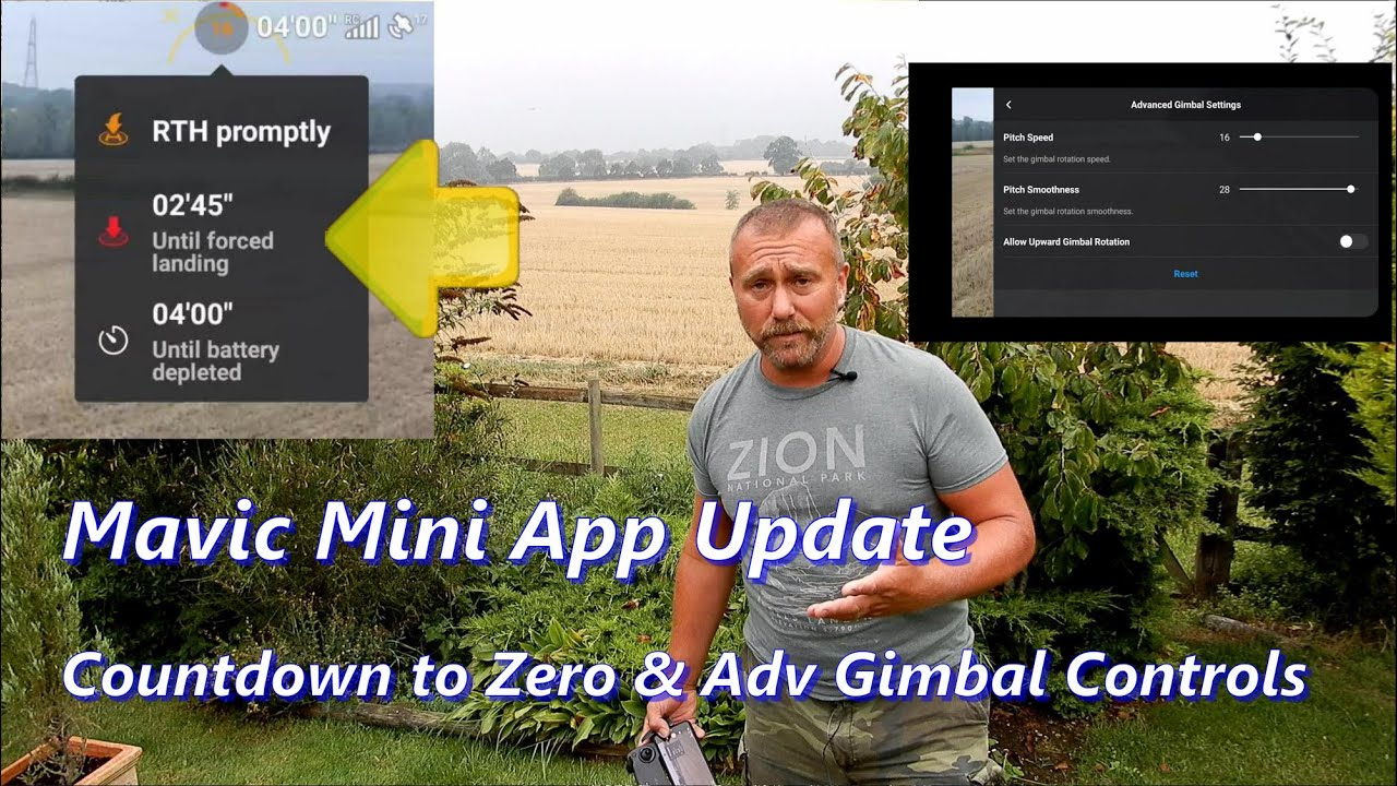 Mavic Mini Fly App Update: Battery Countdowns & Adv gimbal settings