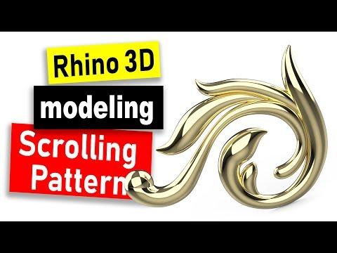 Scrolling Pattern 3D Modeling in Rhino 6: Jewelry CAD Design Tutorial #76