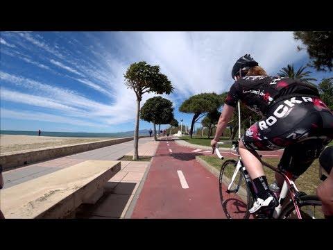 30 Minute Cambrils Sunshine Beach Cycling Training Spain 4K Video 2017