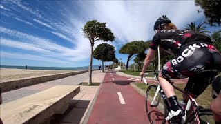 30 Minute Cambrils Sunshine Beach Cycling Training Spain 4K Video 2017