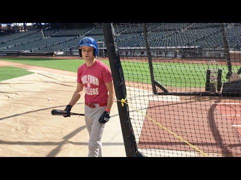 Taking batting practice at Citi Field