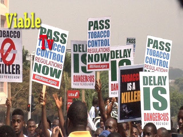Happening Now : Protesters Storm NASS, Demand Passage of Tobacco Control Regulations