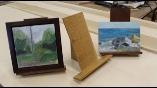 http://www.jonpeters.com/ I originally designed these small easels for my small framed paintings, but they also work for an Ipad or