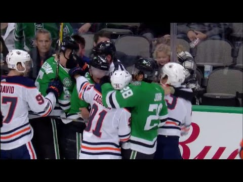 Rousell appears to kick Klefbom with skate, scrum starts between Oilers and Stars