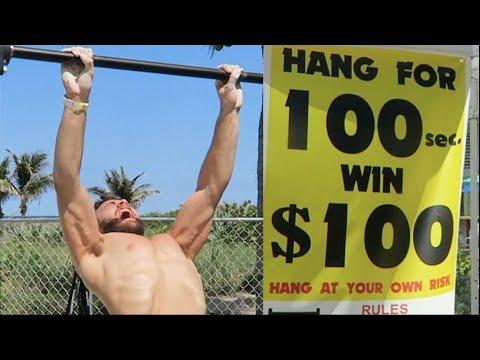 HANG CHALLENGE! 100 SECONDS, 100 DOLLARS! (NINJA WARRIOR ATTEMPT)