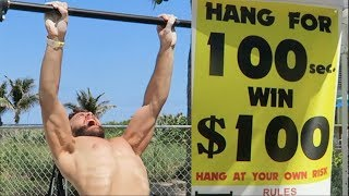 HANG CHALLENGE! 100 SECONDS, 100 DOLLARS! (NINJA WARRIOR ATTEMPT) thumbnail