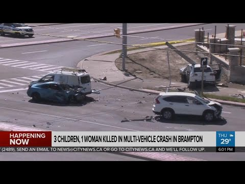 3 children, 1 woman dead after multi-vehicle crash in Brampton